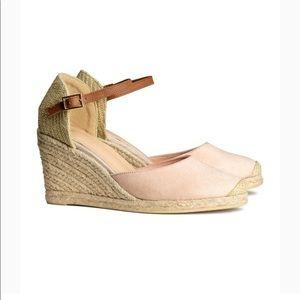 H&M Blush Espadrille Wedge Shoes Ballet 39 8